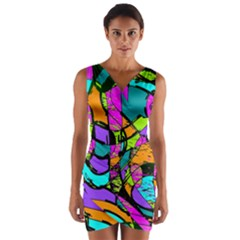 Abstract Art Squiggly Loops Multicolored Wrap Front Bodycon Dress by EDDArt