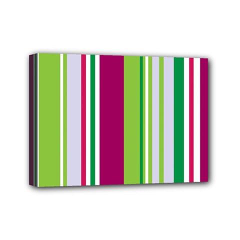 Beautiful Multi Colored Bright Stripes Pattern Wallpaper Background Mini Canvas 7  X 5  by Amaryn4rt