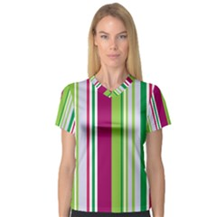 Beautiful Multi Colored Bright Stripes Pattern Wallpaper Background Women s V Neck Sport Mesh Tee by Amaryn4rt