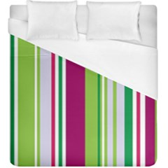 Beautiful Multi Colored Bright Stripes Pattern Wallpaper Background Duvet Cover (king Size) by Amaryn4rt