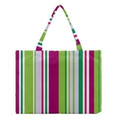 Beautiful Multi Colored Bright Stripes Pattern Wallpaper Background Medium Tote Bag by Amaryn4rt