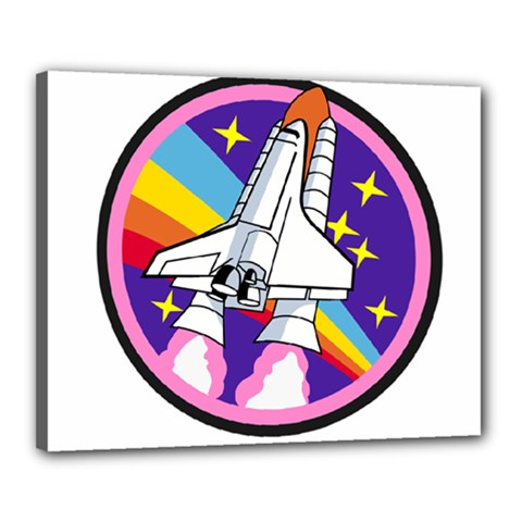 Badge Patch Pink Rainbow Rocket Canvas 20  X 16  by Amaryn4rt