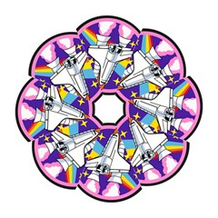 Badge Patch Pink Rainbow Rocket Hook Handle Umbrellas (small) by Amaryn4rt