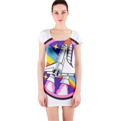 Badge Patch Pink Rainbow Rocket Short Sleeve Bodycon Dress