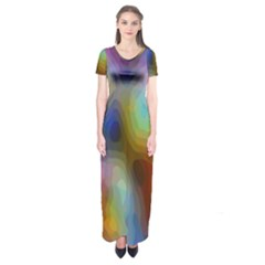 A Mix Of Colors In An Abstract Blend For A Background Short Sleeve Maxi Dress