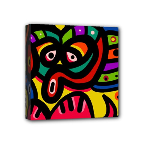 A Seamless Crazy Face Doodle Pattern Mini Canvas 4  X 4  by Amaryn4rt