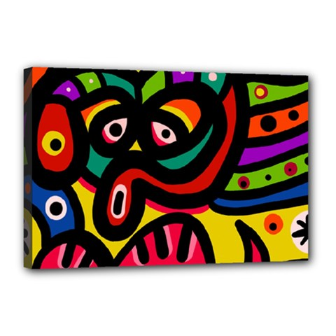 A Seamless Crazy Face Doodle Pattern Canvas 18  X 12  by Amaryn4rt