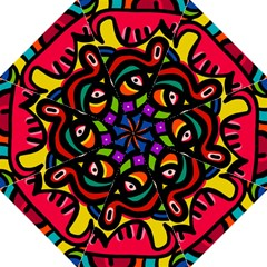 A Seamless Crazy Face Doodle Pattern Folding Umbrellas by Amaryn4rt