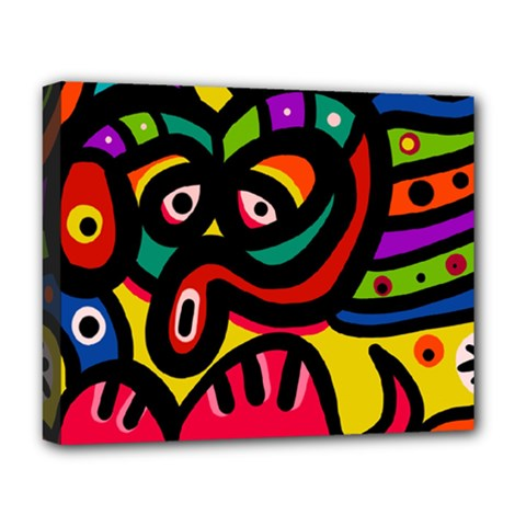 A Seamless Crazy Face Doodle Pattern Deluxe Canvas 20  X 16   by Amaryn4rt