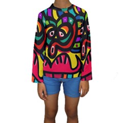 A Seamless Crazy Face Doodle Pattern Kids  Long Sleeve Swimwear by Amaryn4rt
