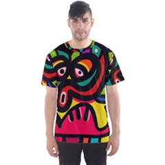 A Seamless Crazy Face Doodle Pattern Men s Sport Mesh Tee by Amaryn4rt