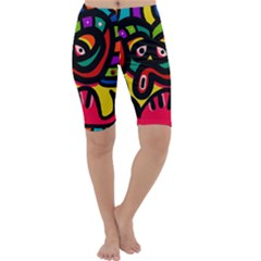 A Seamless Crazy Face Doodle Pattern Cropped Leggings  by Amaryn4rt
