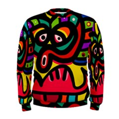 A Seamless Crazy Face Doodle Pattern Men s Sweatshirt by Amaryn4rt