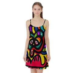 A Seamless Crazy Face Doodle Pattern Satin Night Slip by Amaryn4rt