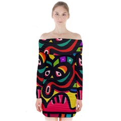 A Seamless Crazy Face Doodle Pattern Long Sleeve Off Shoulder Dress