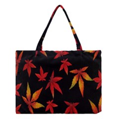Colorful Autumn Leaves On Black Background Medium Tote Bag by Amaryn4rt