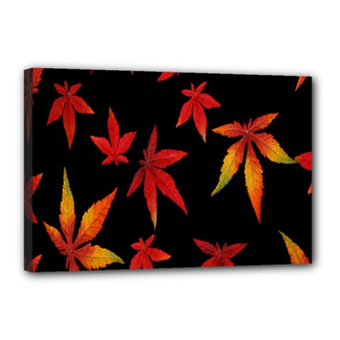 Colorful Autumn Leaves On Black Background Canvas 18  X 12  by Amaryn4rt