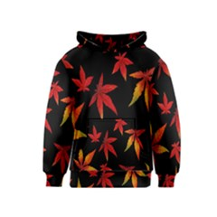 Colorful Autumn Leaves On Black Background Kids  Pullover Hoodie
