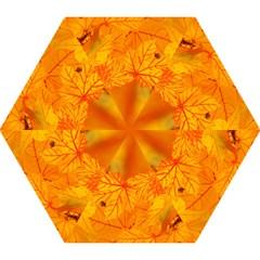 Bright Yellow Autumn Leaves Mini Folding Umbrellas by Amaryn4rt