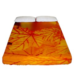 Bright Yellow Autumn Leaves Fitted Sheet (king Size)