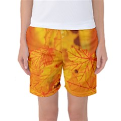 Bright Yellow Autumn Leaves Women s Basketball Shorts