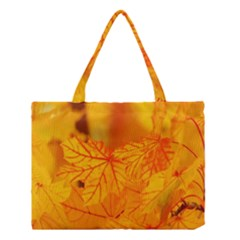Bright Yellow Autumn Leaves Medium Tote Bag by Amaryn4rt