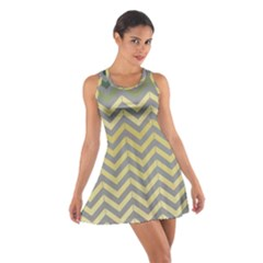 Abstract Vintage Lines Cotton Racerback Dress