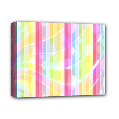 Colorful Abstract Stripes Circles And Waves Wallpaper Background Deluxe Canvas 14  X 11  by Amaryn4rt
