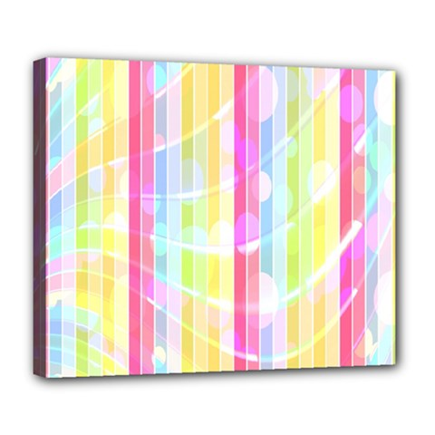 Colorful Abstract Stripes Circles And Waves Wallpaper Background Deluxe Canvas 24  X 20   by Amaryn4rt