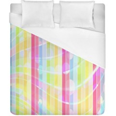 Colorful Abstract Stripes Circles And Waves Wallpaper Background Duvet Cover (california King Size) by Amaryn4rt