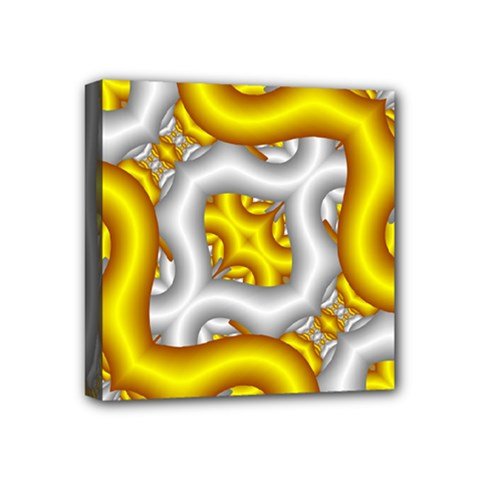 Fractal Background With Golden And Silver Pipes Mini Canvas 4  X 4