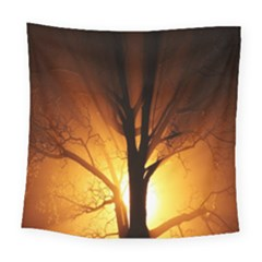 Rays Of Light Tree In Fog At Night Square Tapestry (large)