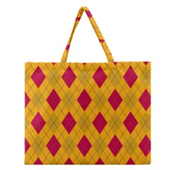 Plaid Pattern Zipper Large Tote Bag by Valentinaart