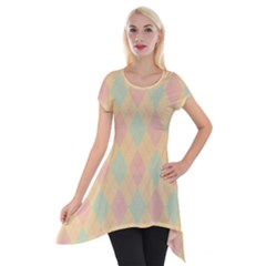 Plaid pattern Short Sleeve Side Drop Tunic