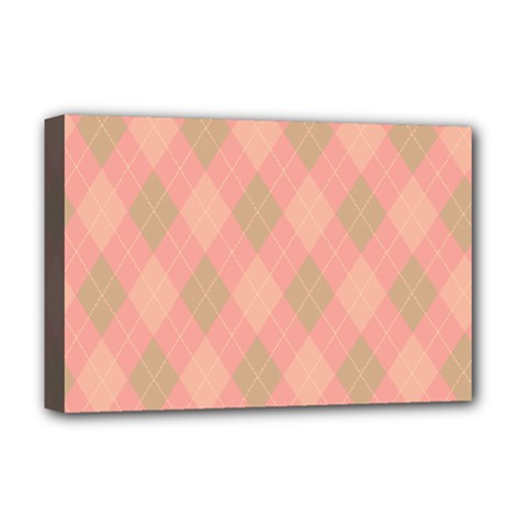 Plaid Pattern Deluxe Canvas 18  X 12   by Valentinaart