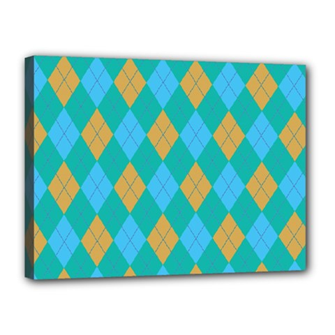 Plaid Pattern Canvas 16  X 12  by Valentinaart