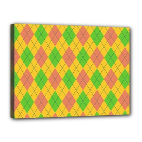 Plaid Pattern Canvas 16  X 12  by Valentinaart