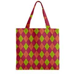 Plaid Pattern Zipper Grocery Tote Bag by Valentinaart