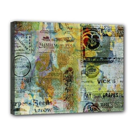 Old Newspaper And Gold Acryl Painting Collage Canvas 14  X 11  by EDDArt