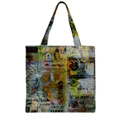 Old Newspaper And Gold Acryl Painting Collage Grocery Tote Bag by EDDArt