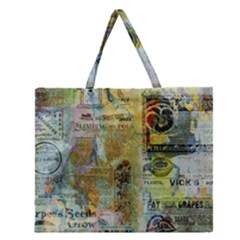 Old Newspaper And Gold Acryl Painting Collage Zipper Large Tote Bag by EDDArt