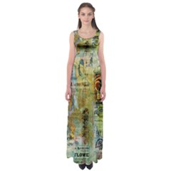 Old Newspaper And Gold Acryl Painting Collage Empire Waist Maxi Dress by EDDArt