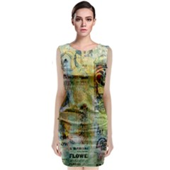 Old Newspaper And Gold Acryl Painting Collage Sleeveless Velvet Midi Dress by EDDArt