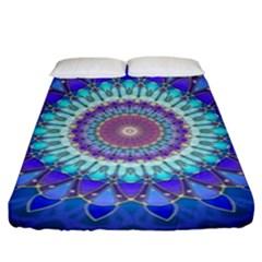 Power Flower Mandala   Blue Cyan Violet Fitted Sheet (king Size) by EDDArt