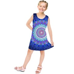 Power Flower Mandala   Blue Cyan Violet Kids  Tunic Dress by EDDArt