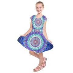 Power Flower Mandala   Blue Cyan Violet Kids  Short Sleeve Dress by EDDArt