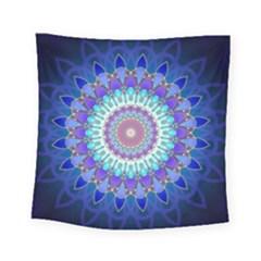 Power Flower Mandala   Blue Cyan Violet Square Tapestry (small) by EDDArt