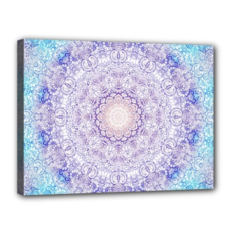 India Mehndi Style Mandala   Cyan Lilac Canvas 16  X 12  by EDDArt
