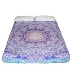 India Mehndi Style Mandala   Cyan Lilac Fitted Sheet (king Size) by EDDArt