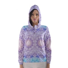 India Mehndi Style Mandala   Cyan Lilac Hooded Wind Breaker (women) by EDDArt